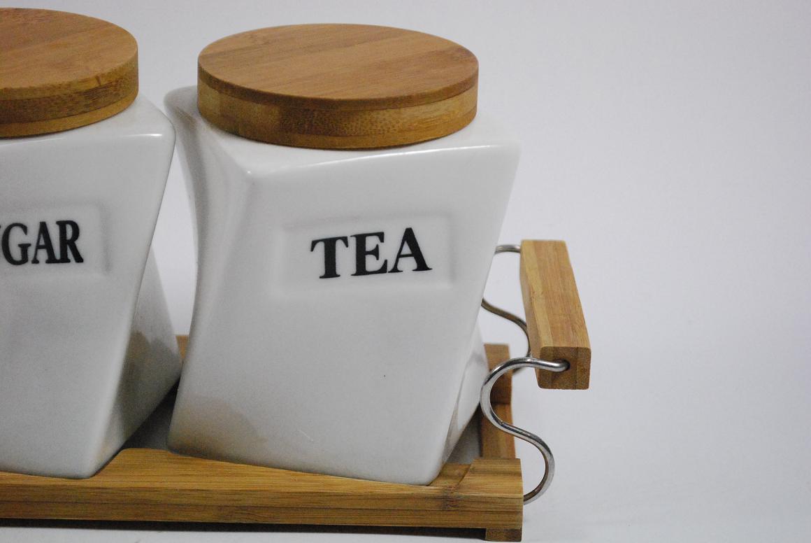 3er set vorratsdosen coffee sugar tea porzellan holz mit. Black Bedroom Furniture Sets. Home Design Ideas
