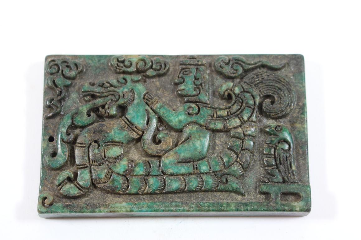 relief platte jade stein geschnitzt adeliger kaiser drache china wohl 19 jhd ebay. Black Bedroom Furniture Sets. Home Design Ideas