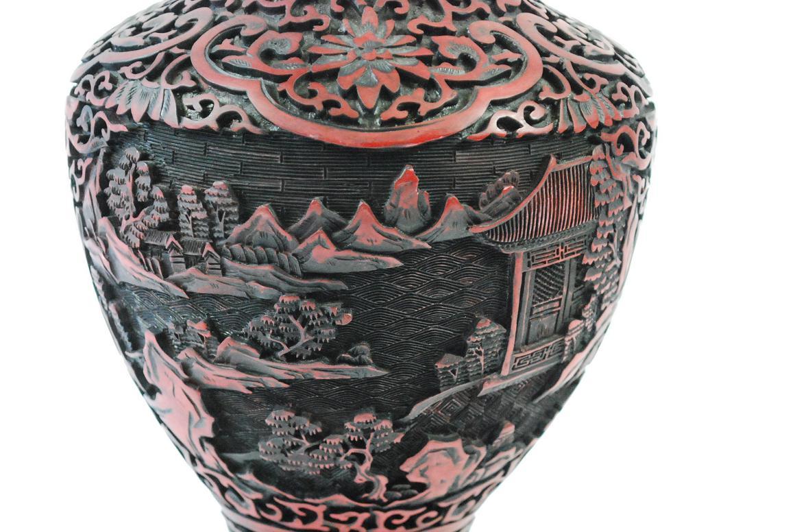Vase 38 cm rotlack fein beschnitzt signiert china wohl 19 Antik deko shop