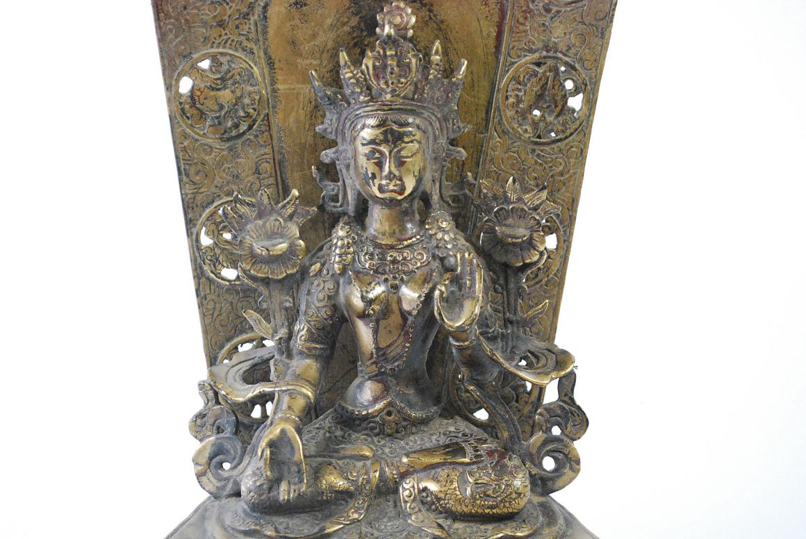 Bronze skulptur gottheit wei e tara bodhisattva buddha Antik deko shop