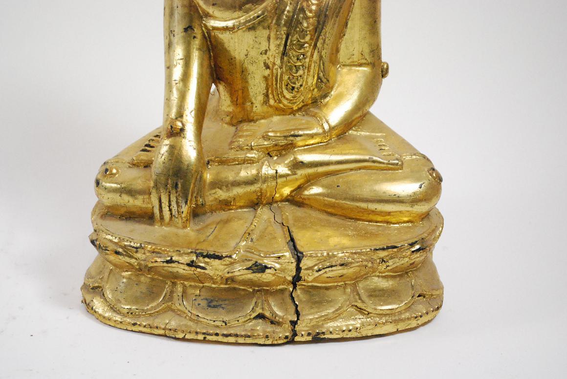Skulptur buddha in meditation auf lotus holz burma myanmar Antik deko shop