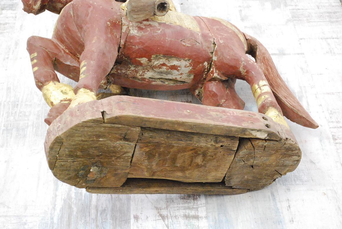 115 cm skulptur adeliger gottheit reiter zu pferd holz Antik deko shop