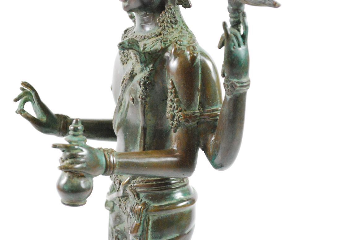 Bronze skulptur gottheit shiva mehrarmig auf lotusthron Antik deko shop