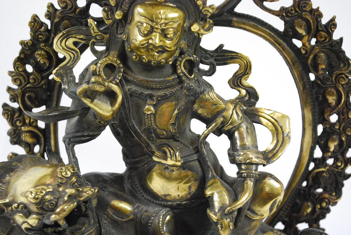 Bronze skulptur gottheit mahakala dharmapala tempell we Antik deko shop