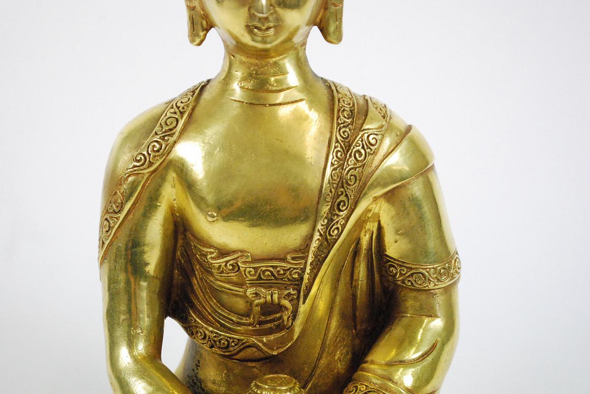 Goldene bronze skulptur gottheit buddha m opfergef auf Antik deko shop