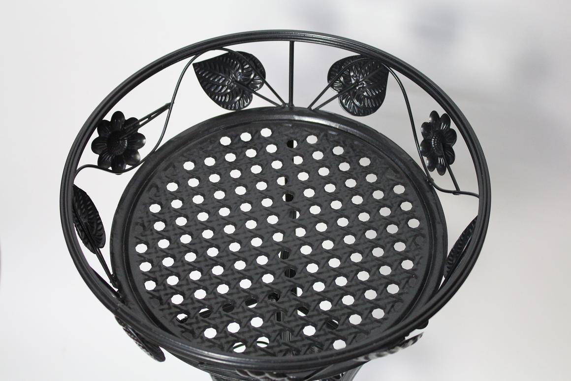 80 cm garten balkon blumenst nder metall schwarz blattdekor ebay. Black Bedroom Furniture Sets. Home Design Ideas