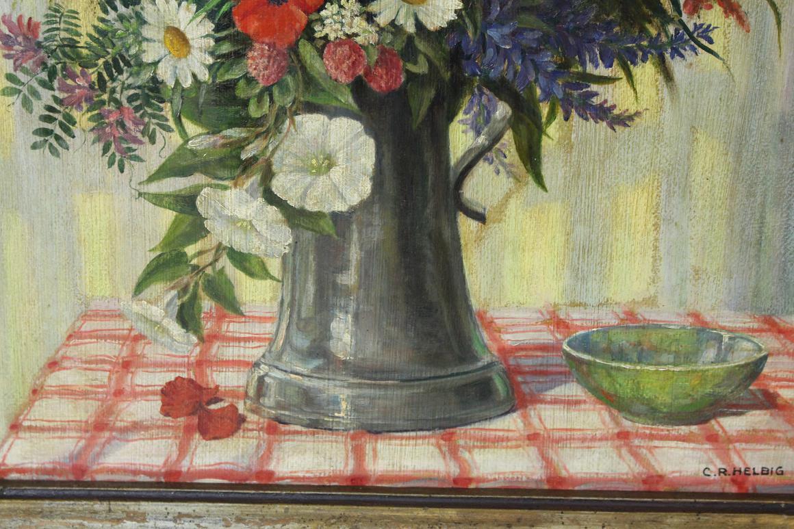 lgem lde blumen in vase stillleben sign c r helbig um 1920 30 ebay. Black Bedroom Furniture Sets. Home Design Ideas