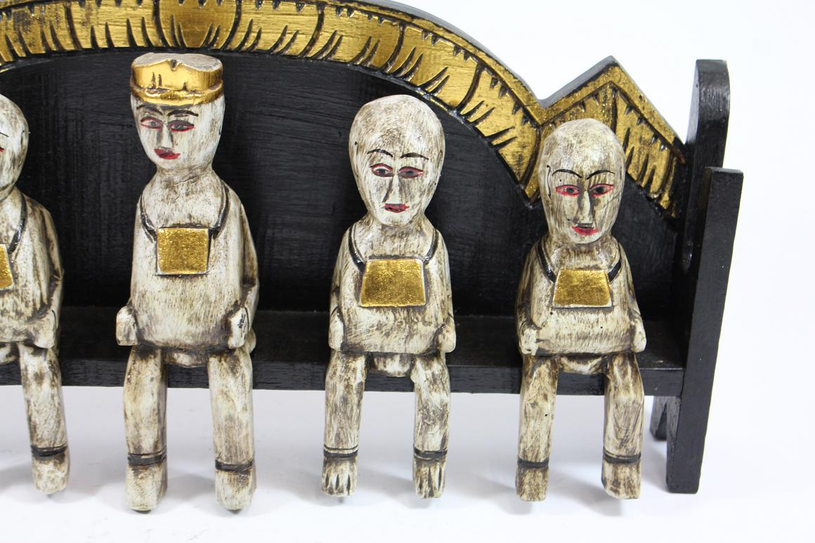 51 cm skulptur 5 m nche priester auf bank holz geschnitzt Antik deko shop