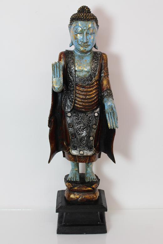 81 cm skulptur stehender buddha holz geschnitzt antik stil Antik deko shop