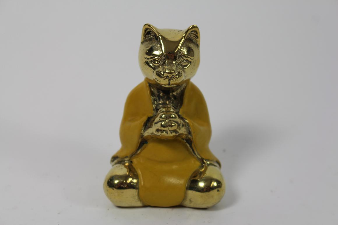Skulptur Figur Bronze teilpoliert Yoga Katze in Meditation